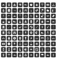 100 family camping icons set black vector