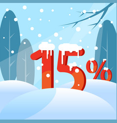 A discount fifteen percent figures in the snow vector