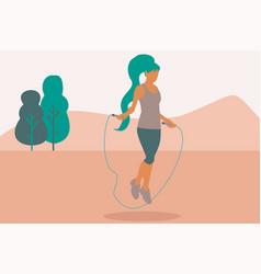 A woman jumping rope at park vector