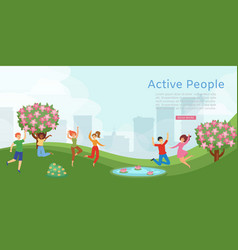 active people in park banner showing dynamic vector image