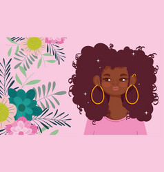 afro american woman cartoon flowers foliage nature vector image