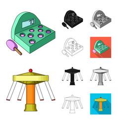 Amusement park cartoonblackflatmonochrome vector