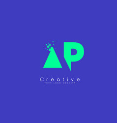 Ap letter logo design with negative space concept vector