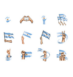 argentina flag and hand on white background vector image