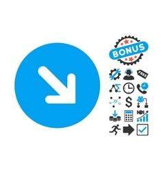 Arrow Right-Down Flat Icon with Bonus vector image
