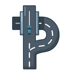autobahn icon cartoon style vector image