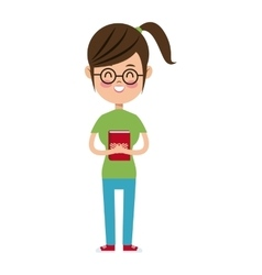 Back to school girl nerd glasses green tshirt and vector