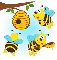 bees around a hive vector image
