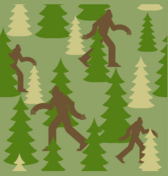 Bigfoot in forest military pattern yeti clothing vector