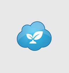 Blue cloud plant icon vector