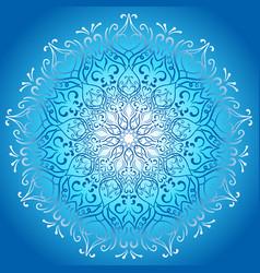 blue glowing mandala stylish design greeting card vector image