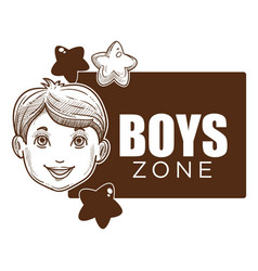 Boy zone little kid with smile on face poster vector