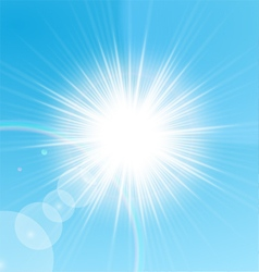 Bright sun shining in the blue sky vector image