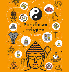 Buddhism religion symbols and signs vector