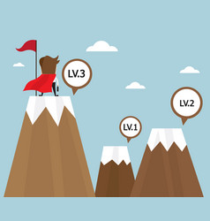 businessman success on top of mountain last level vector image
