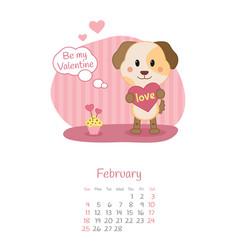 Calendar 2018 months february with dog vector