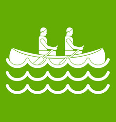 Canoeing icon green vector