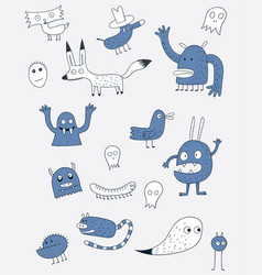 cartoon animals the cute monster character vector image