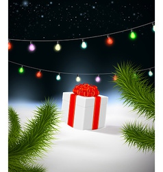 Christmas background with gift vector image