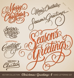 CHRISTMAS GREETINGS hand lettering set vector