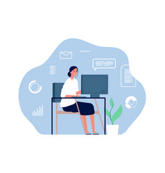 Computer worker woman sitting desk home vector