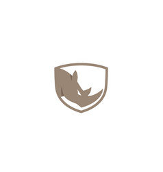 creative brown rhinoceros logo design symbol vector image