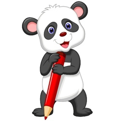 Cute panda bear cartoon holding red pencil vector image