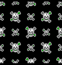 Cute punk rock skulls background pattern vector