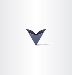 deep blue abstract letter v symbol logo vector image