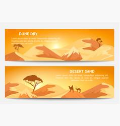 Desert sand landscape banner set vector