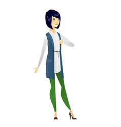 Disappointed business woman with thumb down vector