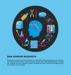 Dna genome research round concept in flat style vector