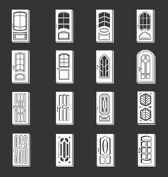 door icons set grey vector image