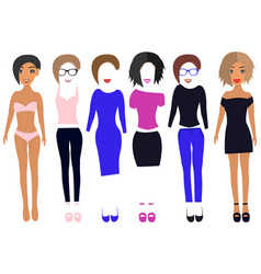 dress up paper doll in dresses pants t-shirt vector image