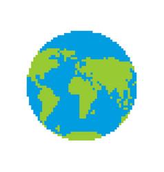 earth pixel art pixelated planet vector image