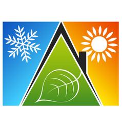 Eco air conditioner warm and cold symbol vector