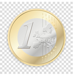 Euro coins isolated on transparent background vector
