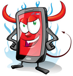 Evil fun mobile cartoon on flame background vector