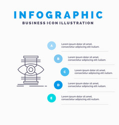 Eye success focus optimize line icon with 5 steps vector