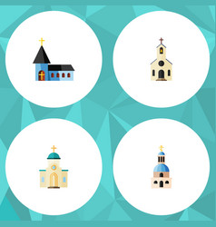 flat icon christian set of religious church vector image
