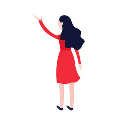 flat woman in red waving hand vector image