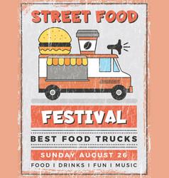 Food street festival kitchen in car mobile van vector