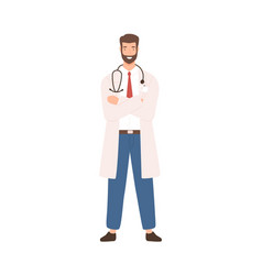 friendly male physician wearing stethoscope posing vector image