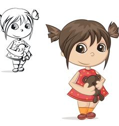 girl with teddy bear vector image