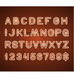 Glowing Orange Neon Bar Alphabet vector image