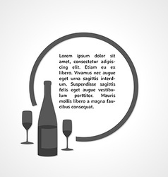 Gray bottle with glasses and circle vector