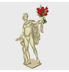 Greek man sculpture with red bouquet flowers vector