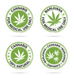 Grunge rubber of marijuana set in green vector