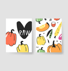 hand drawn set of cards with fruits and vegetables vector image
