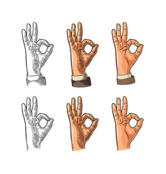 hand showing symbol okay color vintage vector image